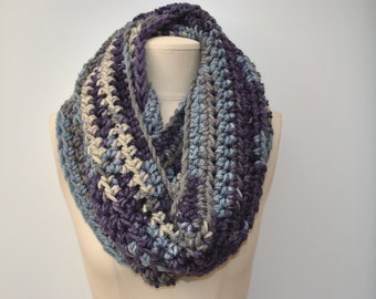 Chunky long crocheted cowl