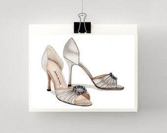 Print of Manolo Blahnik silver high heel sandals