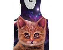 Psychedelic Art Tank Top - Space Cat Shirt - Visionary Art - Festival Clothing - Trippy Clothes - GratefullyDyed