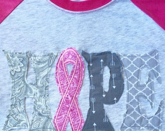 Breast Cancer Awareness Hope Raggy Letters Raglan Tee Neon Pink Baseball