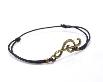 Bracelet music bronze black cord
