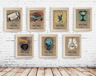 HARRY POTTER Poster Set Of 7 - Best Harry Potter Quotes  - Retro Vintage Wall Art Print - * VARIOUS SIZEs * Gift For Her , Gift For Him