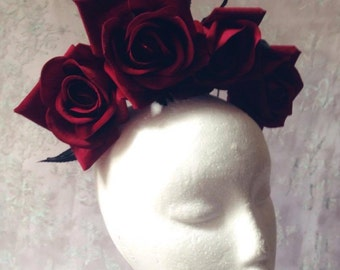 Gothic Queen Blood Red Rose Thorn Flower Crown/Headband