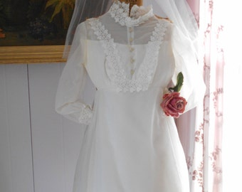 1970's Pure White Mini Wedding Dress with Matching Veil