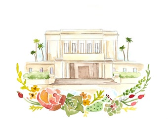 Mesa, Arizona LDS Temple Watercolor, Mesa Temple