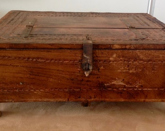 Vintage Handmade Large Wood Carved Stationery Treasure Box