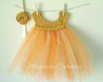 Crochet Tutu Dress, Baby Girl Dress, Crochet Tulle Dress, Tulle Dress, First Birthday Dress, Orange & Gold Dress, Photography Prop