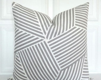 Grey Pillow Cover - Designer Pillow - Nate Berkus - Decorative Pillow - 18x18, 20x20, 22x22, Lumbar - Toss Pillow - Gray and White