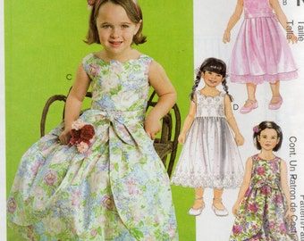 McCall's FLOWER GIRL Special Occasion DRESSES w/Detachable Overskirt 3172 Children's Sizes 4 5 6