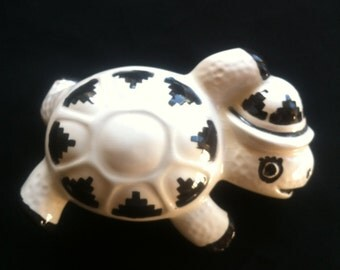 Black and White Porcelain/Ceramic Turtle Figurine With A Geometric/Southwest Folk Art Design