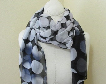 Hand dyed Black Silk Scarf with polka dots in white and gray, great gift
