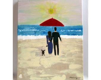 Original Painting: Couple on a Beach, Enjoying the Sunset