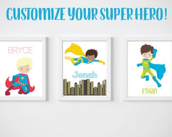 KIDS Room Printable Art, Boy Super Hero Print, CUSTOM Download Digital File 8x10 Digital Print