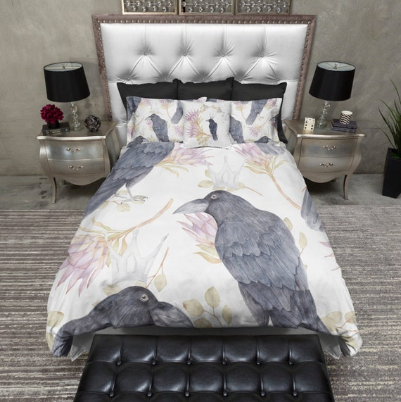 Lightweight Crowned Black Crow Bedding - Black Crow Comforter Cover - Crown and Crow Bed Set,  Crow and Flower Bedding