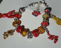 Red & Gold Chinese Dragons European charm Murano beads bracelet good fortune happiness Buddha crystals You pick size help save a cat/kitten