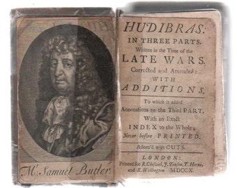 "Vintage rare Antiquarian   Samuel Butler  ""Hudibras""   original  1710"