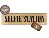 Selfie Station Banner Printable Wild West Country Style Wedding Birthday Bachelorette Bachelor Party Photo Booth 24X6 Inch Sign Digital File