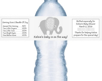 21 Elephant Grey Baby Shower Personalized Water Bottle Labels