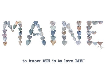 Maine card, Maine wedding, Maine engagement, Maine love, Maine Valentine, love rocks pebble art, to know me is to love me
