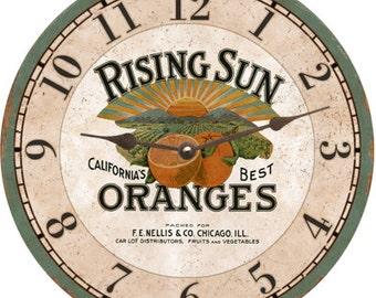 Rising Sun Oranges Clock