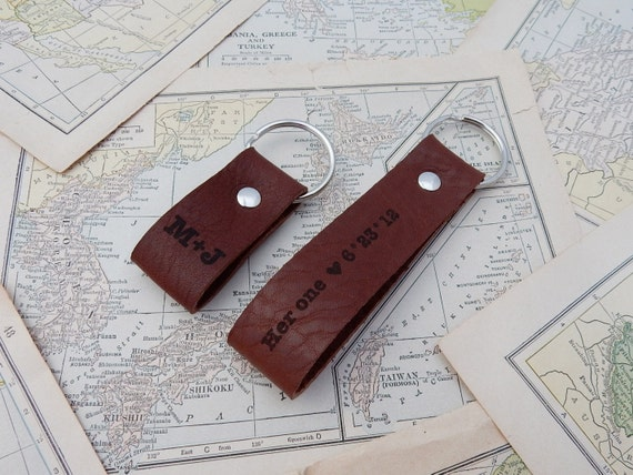 9th Year Wedding Anniversary Gifts: 9th Anniversary Gift Leather Keychain Couples Gift Set