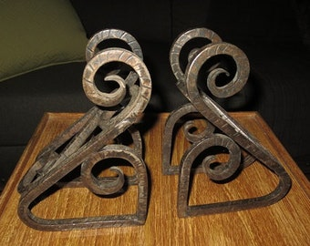 Vintage Wrought Iron Book Ends , Arts and Crafts