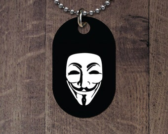 Anonymous - Guy Fawkes  dog tag