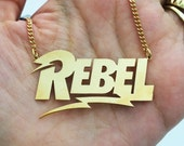 Women gold necklace , lightning necklace , rebel , burning man , festival jewelry