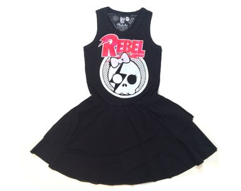 Toddler black dress , Organic cotton dress , Toddler girl dress , Cool dress , Rock dress