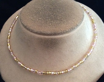 Vintage Champagne & Pink Glass Beaded Necklace