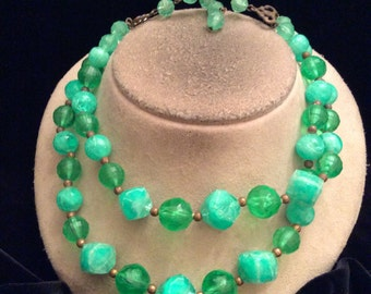 Vintage Double Stranded Shades Of Green Beaded Necklace