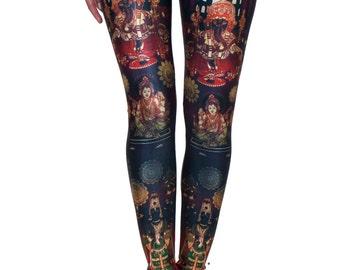 India Leggings Black with Orange, Gold and Green Details, Yoga Leggings