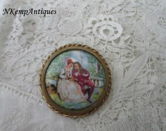 Limoges porcelain brooch 1930's