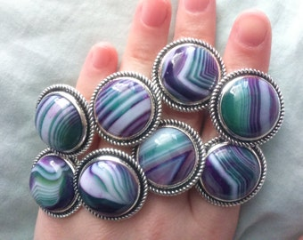 Green Agate Rings