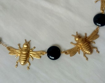 "Necklace ""Golden Bees"" glass beads vintage black and Golden brass bees."