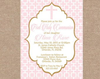 Gold and Pink Invitation | Girl First Communion | DIY Printable Personalized Digital Invitation