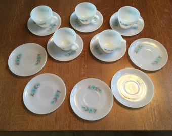 Fire King Bonnie Blue set of 5 cup and saucers, plus 5 additional saucers