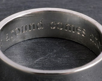 Sterling silver secret message ring ~ what goes around comes around ~ message ring engraved custom ring band ring 6mm hidden message