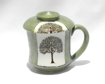 Hand Painted Tree of Life Lidded Tea/Coffee Cup