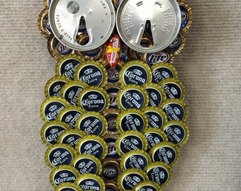 Owls  made with recycled bottle caps