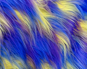 Shaggy Versicolor Purple Yellow Faux Fur Fabric - Sold By The Yard