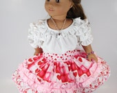 Valentine Ruffled Party Skirt for 18 inch Girl Dolls, American Made frilly circle western square dance skirt, cowgirl outfit, Mexican Fiesta