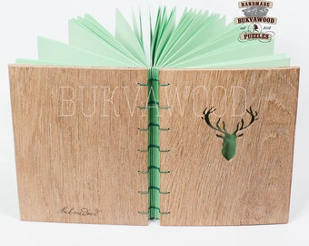 "Wooden Handcrafted Coptic Journal ""Deer"""