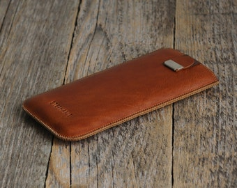 Brown Case Xiaomi Mi 5, 4s, 4c, Redmi 3S, 3, Note 2 4 Pro Cover. Engrave Your Name. Leather Lined Sleeve With Magnetic Flap
