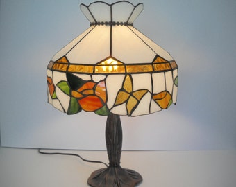 Stained Glass Shade Lamp with Yellow Flowers