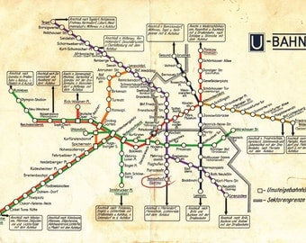 Old Berlin, Germany Subway Map Print, U-Bahn Photo Print