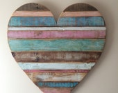 Rustic striped wood heart pastel colors, reclaimed wood, pallet wood, home decor, wall decor, baby room decor
