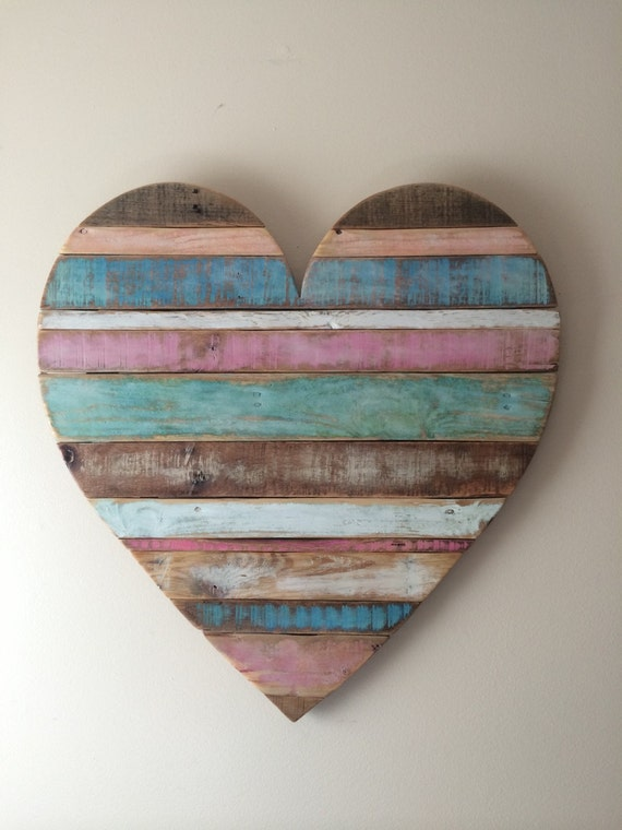 Rustic striped wood heart pastel colors reclaimed wood for Wooden heart wall decor