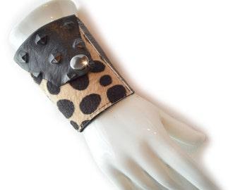 Leather | Womens Wallet | Wrist | Cuff | Wallet | Wrist Wallet | Black | Leopard