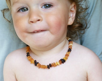 RAW Baltic Amber Teething Necklace for your Baby multicolored nuggets amber  beads